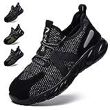 Zapatos de Seguridad Hombre Zapatos de Trabajo con Punta de Acero Hombre Mujer Ligeras Antideslizante Calzado de Industrial y Deportiva Unisex-Adulto Reflexivo Botas de Segurida Gris EU 36