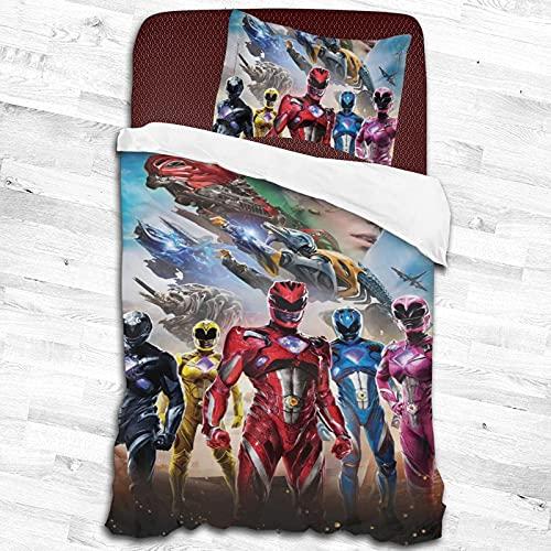 Juego de sábanas de 2 piezas Power Rangers, funda de edredón grande, 2 piezas, funda de edredón suave y transpirable, dos tipos de tamaños pulgadas y pulgadas 55 x 83 pulgadas
