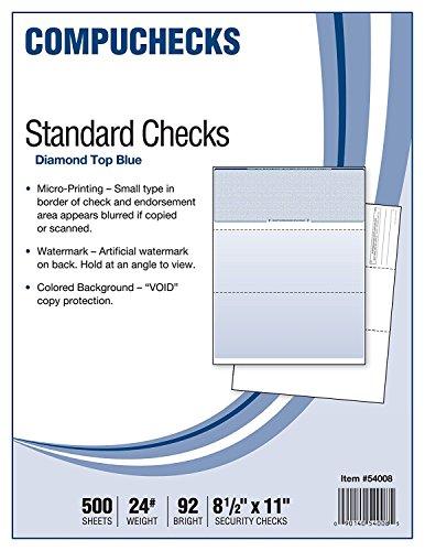 Compuchecks 2002 500 Blank Check Stock Check on Top Blue Diamond