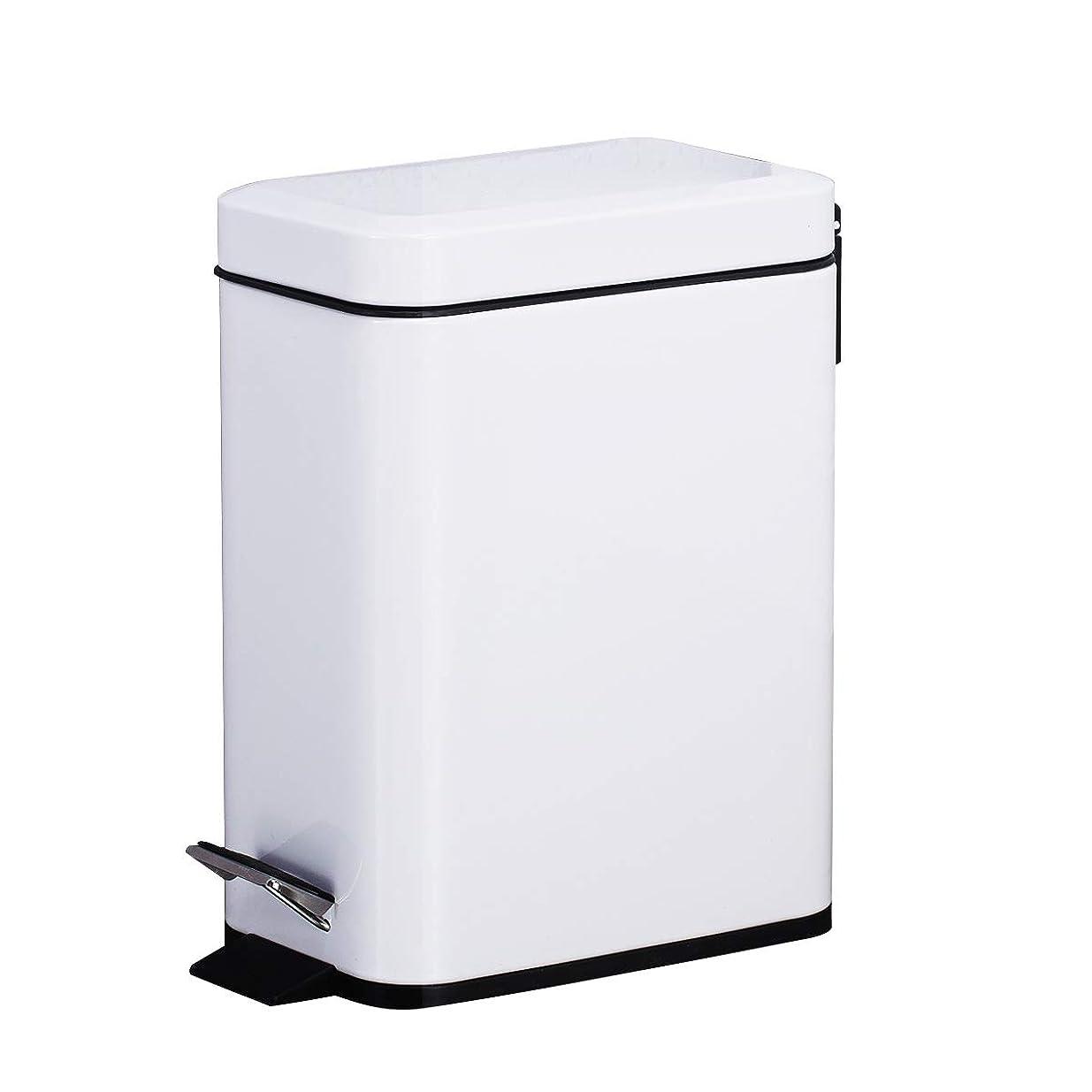 はず滑り台害虫Smart-bin 5L スリム ゴミ箱 ダストボックス 四角形 蓋付き ペダル式 ゴミ箱 音無し 生ごみ 防水 指紋防止 オシャレ ペダル式ゴミ箱 ダストボックス キッチン トラッシュカン リサイクルカン トイレ リビング (ホワイト)