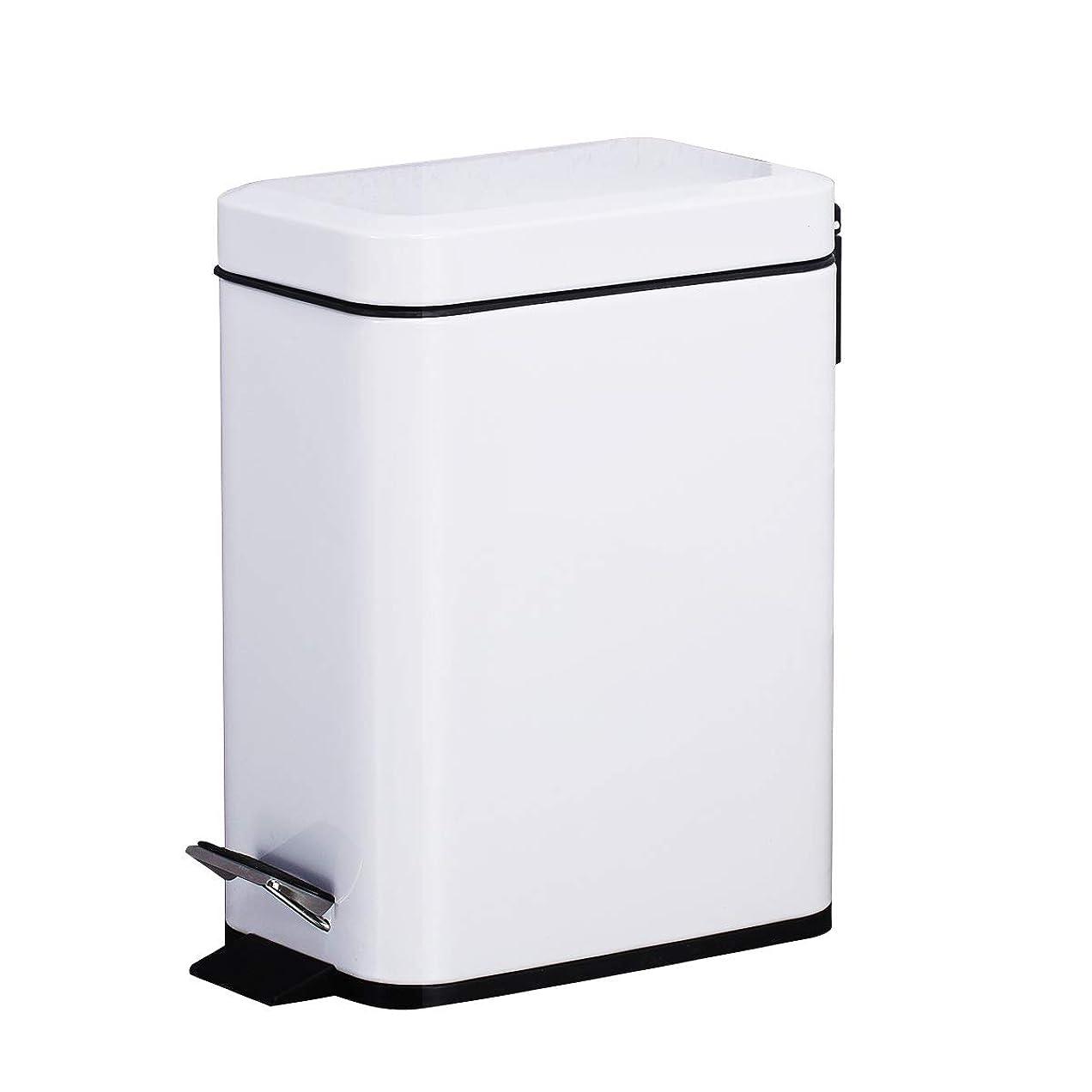 消毒剤寛大さ慢Smart-bin 5L スリム ゴミ箱 ダストボックス 四角形 蓋付き ペダル式 ゴミ箱 音無し 生ごみ 防水 指紋防止 オシャレ ペダル式ゴミ箱 ダストボックス キッチン トラッシュカン リサイクルカン トイレ リビング (ホワイト)