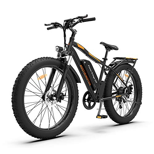 AOSTIRMOTOR Electric Mountain Bike, 750W Motor&48V 13AH Battery Ebike with Rack and Fender, 26 4.0 Inch Fat Tire Bike, Electric Bicycle for Adults