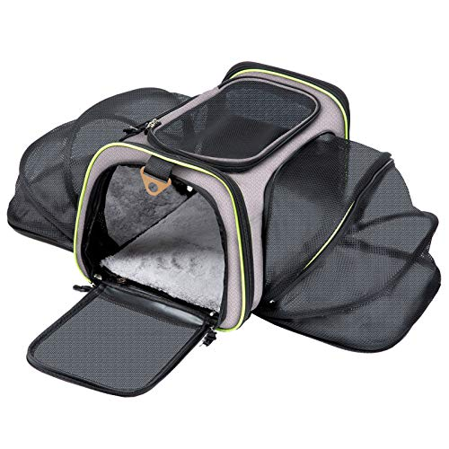 Q-Hillstar Pet Carrier Airline Approved, Expandable Foldable Soft-Sided Dog Carrier, 3 Open Doors, 1 Reflective Tapes, Pet Travel Bag Safe and Easy for Cats and Dogs