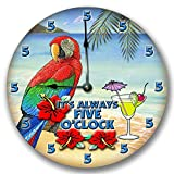Fancy This ITS Always 5 O'CLOCK Wall Art Clock Novelty Margarita Parrot 10 1/2'