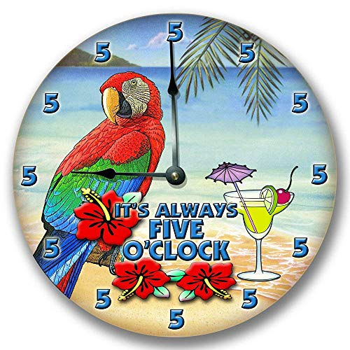 Fancy This ITS Always 5 O'CLOCK Wall Art Clock Novelty Margarita Parrot 10 1/2""