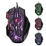 Tutoy Hxsj H300 Fire Bird 7D 5500 dpi Colorido Contraluz Atado con Alambre Optical Gaming Mouse