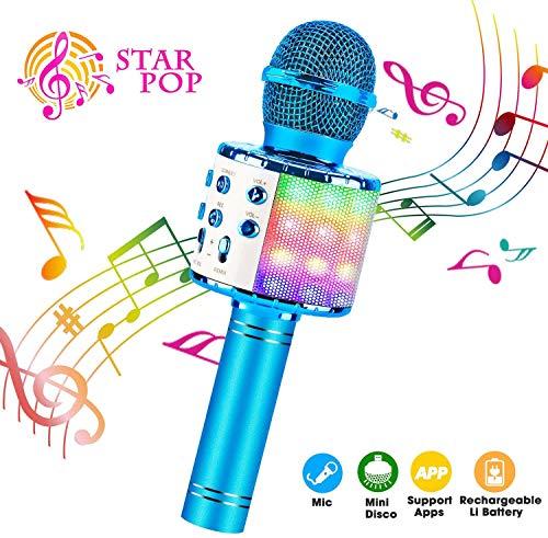 ShinePick Karaoke Mikrofon, Bluetooth Mikrofon Kinder, Tanzen LED Lichter Drahtlose Tragbares Microphon mit Lautsprecher Aufnahme für Erwachsene und Kinder, Kompatibel mit Android IOS PC (Blau)