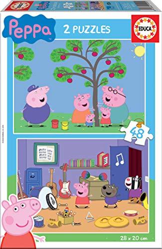 Educa - Peppa Pig, 2 Puzzles infantiles de 48 piezas, a partir de 3 años (15920)