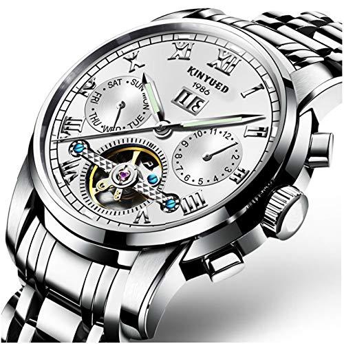 JTTM Moda Business Hombres Automático Mecánico Tourbillon Relojes De Pulsera Acero Inoxidable Correa Luminoso Puntero Calendario Multifunción,Blanco
