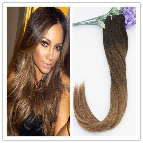 Lot de 7 extensions de cheveux humains à clip 2 tons Marron 45,7 cm 120 g