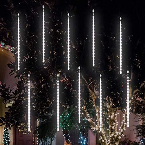 Salcar 10 Tubi a spirale Meteore Effetto, Luci della doccia di meteore 50cm 360 LEDs Luci di pioggia + 5m Cavo Luci di stringa per Natale - Bianca