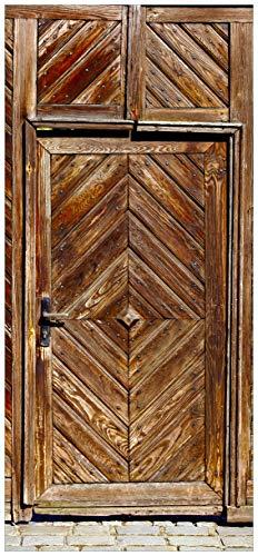 posterdepot ktt0500 Türtapete Türposter Alte Holztür mit diagonalem Muster-Größe 93 x 205 cm