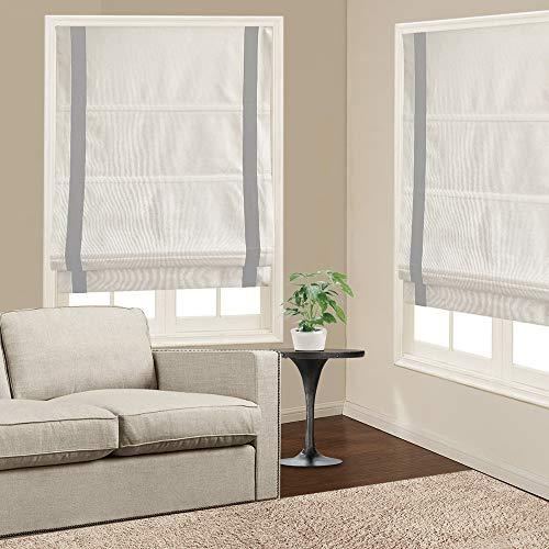 Roman Shades Window Blinds, White Light Grey Premium Blackout Roman Window Shades, Custom Washable Fabric Roman Shades for Windows, Doors, French Doors, Kitchen Windows (1 Piece)