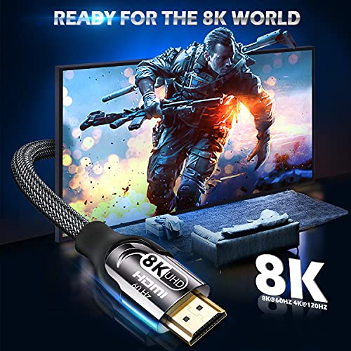 8K HDMI 2.1 Cable 10 FT, 48Gbps High Speed Braided Cord 8K@60Hz 4K@120Hz HDCP 2.2 2.3 HDR 10 ARC & CL3 Rated Compatible with Monitor, TV, PS5, Xbox