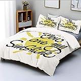 Juego de funda nórdica, imagen del día de San Valentín con caligrafía romántica en un motivo de sol de colores Juego de cama decorativo de 3 piezas con 2 fundas de almohada, gris carbón amarillo, el m