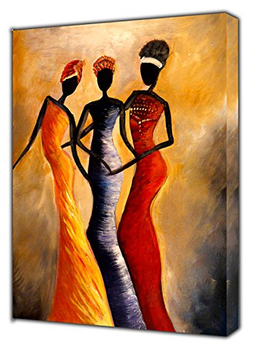 African Queens Abstract Paint Picture Print On Framed Canvas Wall Art Home Decoration 20'' x 12 inch(50x 30 cm) -18mm Depth