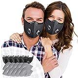 SOKERDY Sports Masks 5Piece with10PCS Filters Net Breathable & Comfortable Dust Masks Washable Reusable Masks Balaclava Mask Black …