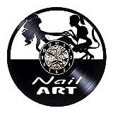 CVG Saat Horloge Murale Wandklok Nail Salon 3D Reloj de Pared Diseño Art Manicure Studio Vinyl Record Watch Beauty Sign Decor 12