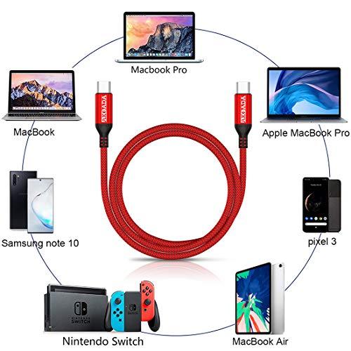 AkoaDa USB C auf USB C Kabel 3M, USB Typ C 100W 20V/5A PD Schnellladekabel mit E-Mark Chip Ladekabel Datenkabel für MacBook Pro,iPad Pro 2020,2018,MacBook Air, ChromeBook Pixel,Galaxy S20/S10(Rot)