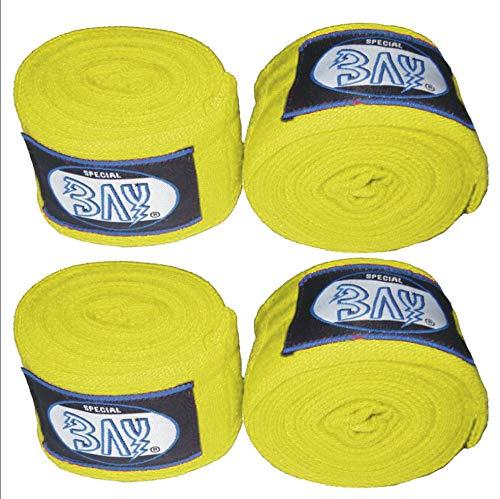 BAY 1 + 1 Gratis Angebot gelb 2,5 m, Boxbandagen + WICKELANLEITUNG, elastisch, Box-Bandagen, Handbandagen, Faustbandagen, 2 Paar, Wraps Wrap Binden Boxen Boxer Handwraps