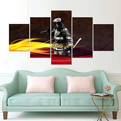 TACBZ Wandkunst, 5-teilig, Drucke auf Leinwand, hohe Auflösung, 5 Figuren von Feuerwehr, modulare Bilder, Dekoration des Hauses