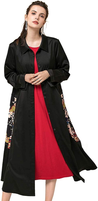 LHHJ Coat Polyester Long Sleeve Long Black Jacket Women's Clothing