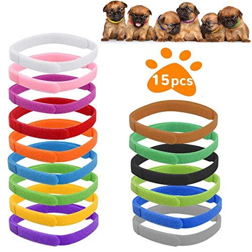 QIMMU Collares de Identificación de Cachorros, ID Collares para Mascota,Banda de Gatitos Ajustable, Collares Suave para Cachorros Recién Nacidos y Gatitos,15 Piezas(L-35cm)