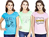 """Fabric-Cotton, set of 3 Pieces Color- Baby-Pink, Baby-Green, Turquoise round Neck, Short Sleeve, Size- Large (40"""" bust) Regular fitting, Enough Stretchable Pattern-Printed, High quality Printing that will never remove or crack after wash."""