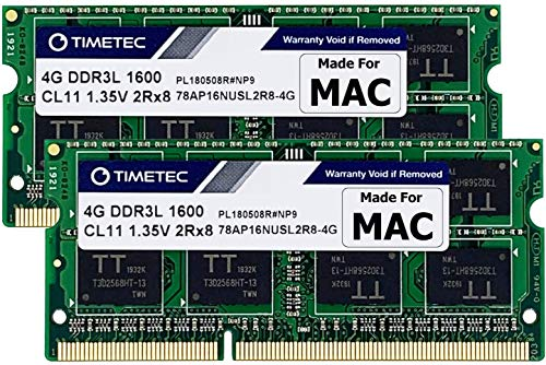 Timetec Hynix IC Apple 8GB Kit (2x4GB) DDR3 1600MHz PC3-12800 SODIMM Memory Upgrade For selected MacBook Pro/iMac/Mac mini/ Server