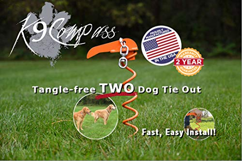 K9Compass Tangle Free Dog Tie Out and Two Dog Tie Out