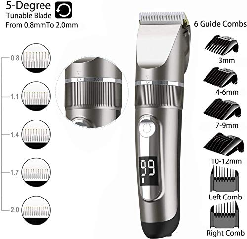 2020 Professional Hair Clippers Voor Mannen Kids Hair Trimmer Set Draadloze Oplaadbare Led Display Five Speed ​​Adjustment Elektrische Tondeuse Met 6 Guide Combs