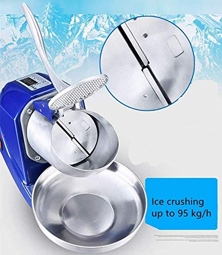 CSJ-CSJ Electric Ice Shaver Machine,Ice Crusher Double Blade Shaving Machine Blades (Color : Silver)