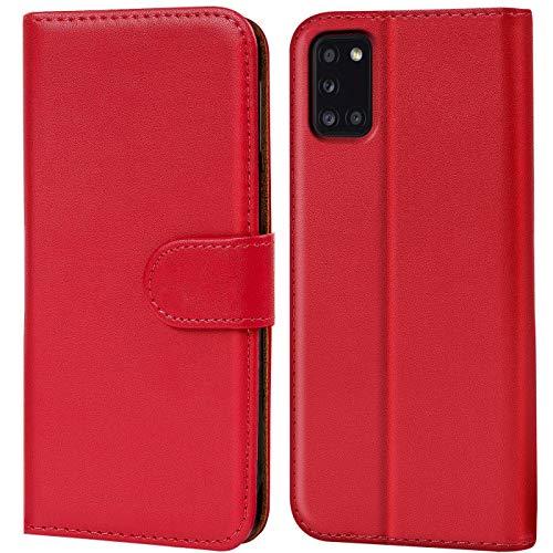 Verco Samsung A31 Hülle, Handyhülle für Samsung Galaxy A31 Tasche PU Leder Flip Hülle Brieftasche, Rot