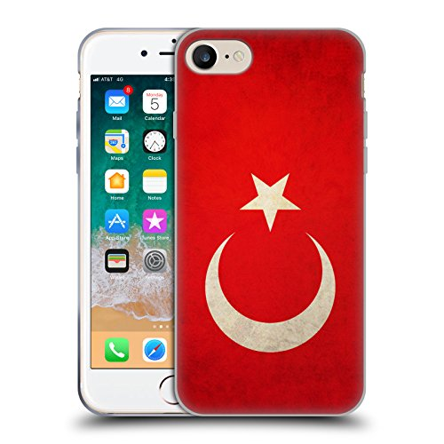 Head Case Designs Türkei Türkisch Vintage Fahnen Soft Gel Huelle kompatibel mit Apple iPhone 7 / iPhone 8 / iPhone SE 2020