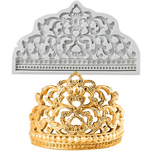 BUSOHA Crown Cake Fondant Molds - Sugarcraft Crown Baroque Style Silicone Mold for Cupcake Topper Chocolate Candy Pastry Jewelry Clay Cake Decorating