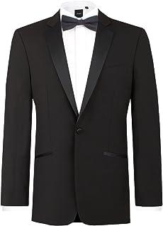 Dobell Mens Black Tuxedo Dinner Jacket Regular Fit Notch Lapel