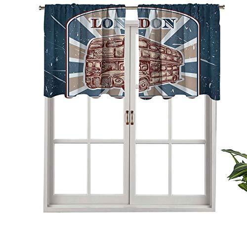 Hiiiman Cenefa de diseño de moda con aislamiento térmico para ventanas, etiqueta con autobús inglés sobre fondo grunge retro, dibujado a mano, juego de 1, 132 x 45 cm para habitación de niños