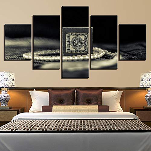 GIZIGI Decoración de Imagen en Blanco y Negro para Arte de Pared de Sala de Estar 5 Piezas HD Impreso Collares de Perlas Cartel Modular Lienzo Pintura