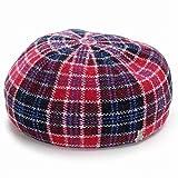 (サイコバニー) Psycho Bunny ベレー帽 チェック柄 バスクベレー ウール 日本製 秋冬 M (約57cm) レッド