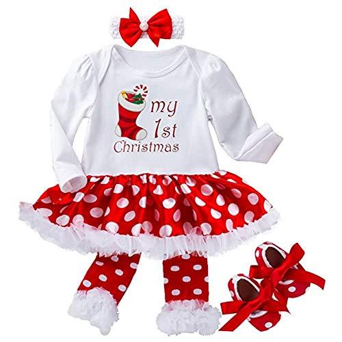 ZXYSHOP 4 piezas Navidad punto blanco conjunto de vestido de Navidad traje niño bebé niñas colmena Top ropa conjunto de Navidad rojo vestido conjunto M