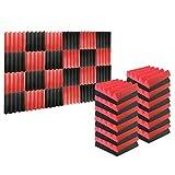 24フォームトリートメントタイルパネルウェッジサウンドコレクション難燃性25x25x5cm黒と赤