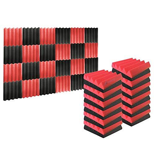 Arrowzoom 24 Pannelli Fonoassorbenti Wedge Cuneo Correzzione acustica Ritardante di Fiamma Isolamento Acustico 25x25x5cm Rosso & Nero
