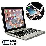 Cooper Kai SKEL P1 [Étui Clapet & Clavier Bluetooth iPad Power Bank] iPad 2 3 4 Coque Bluetooth sans Fil Batterie Externe 2800 mAh (Argent)
