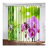 Knbob Polyester Gardine Rosa Orchidee Vorhänge für Lange Fenster Größe 274x160CM