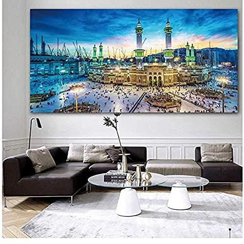 Canvas print,Islam Canvas Decoratieve Schilderijen Behang Retro Poster Gedrukte Muur Retro Posters voor Home Bar Cafe-70x140cm