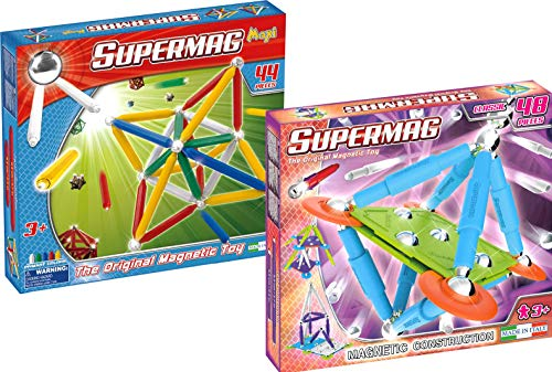 Supermag Toys 0256 Bundle-Maxi Primary 44 Classic Trendy 48 pz Magnetisches Konstruktionsspiel
