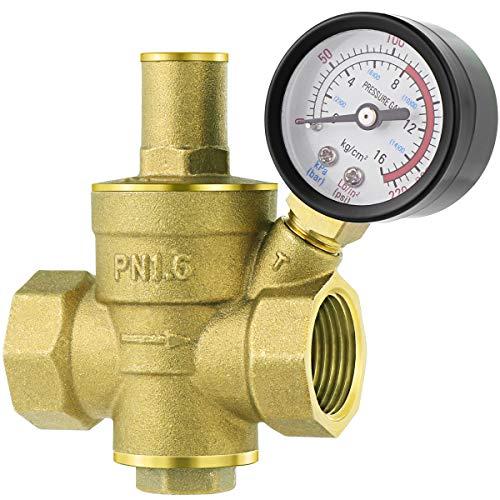 UKCOCO DN20 Heavy Duty Einstellbare Messing Wasserdruckminderer Regler Ventile mit Wasserdruckmessgerät