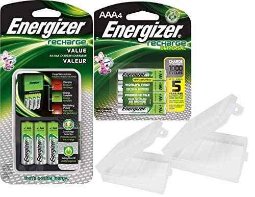 Energizer Rechargeable AA and AAA Battery Charger Includes 4 AA NiMH 1300mAh Rechargeable Batteries Plus 4 AAA 700mAh NiMH Batteries with AA and AAA Cases