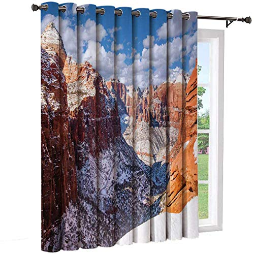 Zion National Park Sliding door shades,patio curtains,Picturesque Scene Fresh Snowfall on Canyon Insulated wide curtains/bedroom curtains(Single panel) W52 x L63 InchDark Turquoise Burnt Sienna White