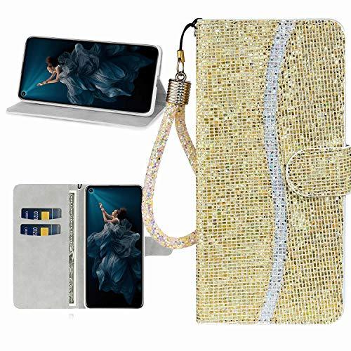 Miagon Glitzer Handyhülle für Huawei P30,Fischschuppen Bling Brieftasche Pu Leder Klapphülle Case Glänzend Magnet Cover mit Tasche und Handschlaufe,Gold
